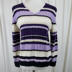 CAROLYN TAYLOR Purple and White Striped Sweater